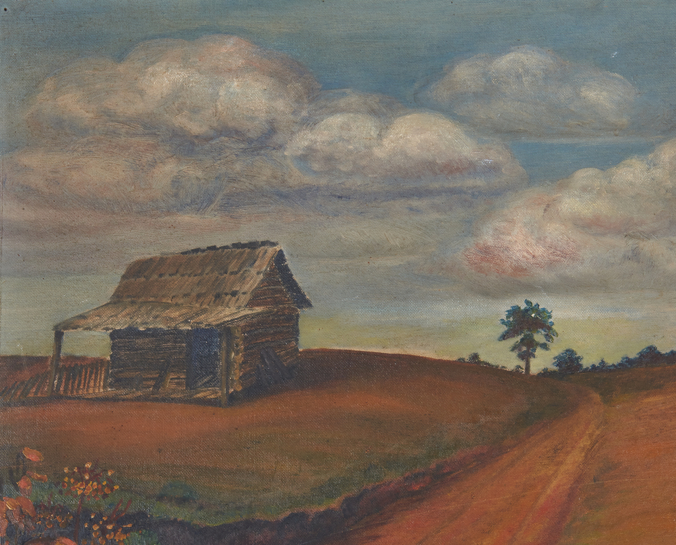 Lot 813: Southern School landscape with Woman and Cabin