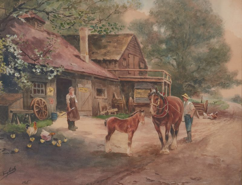 Lot 815: Frank English Watercolor on Paper, Rural Scene w/ Horses
