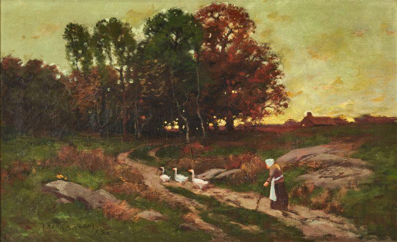 Lot 816: Frank Barney O/C, Landscape w/ Woman & Geese