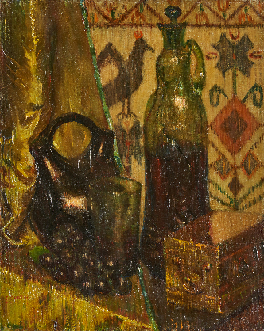 Lot 817: Still Life Painting of Decanter with Grapes