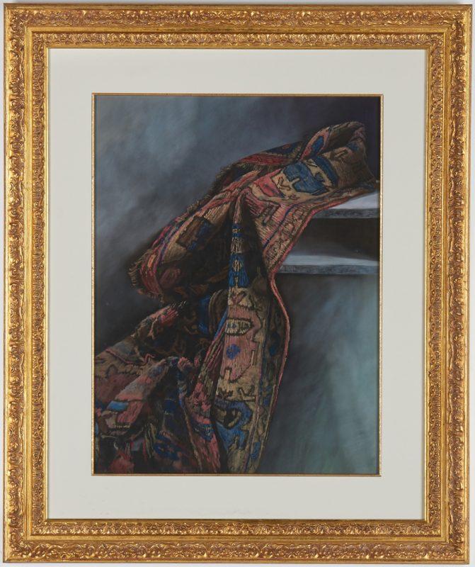 Lot 819: Daud Akhriev Pastel on Paper, Oriental Rug