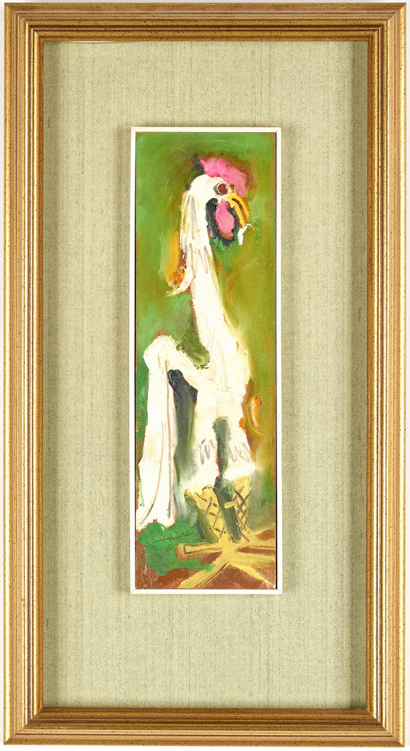 Lot 820: Sterling Strauser Rooster Painting