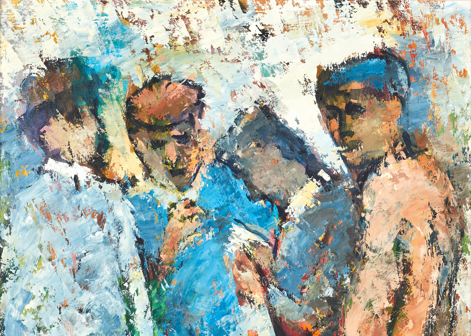 Lot 823: Cecil Kenneth Baker Oil on Panel, Four Workers