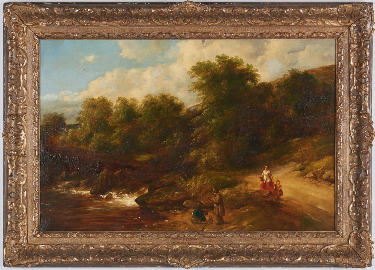 "Lot 826: British School 19th C. Oil, ""Suffolk Stream"""