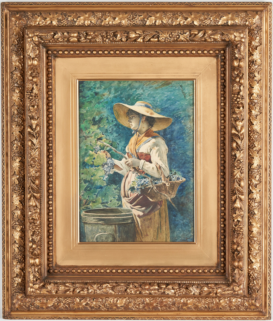 Lot 827: Signed 19th Cent. Watercolor, Grape Harvester