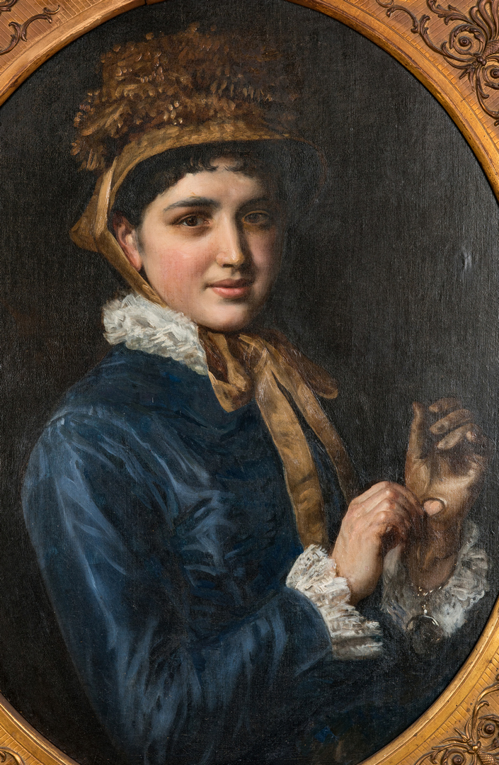 Lot 829: 19th Cent. Portrait of a Lady with a Watch