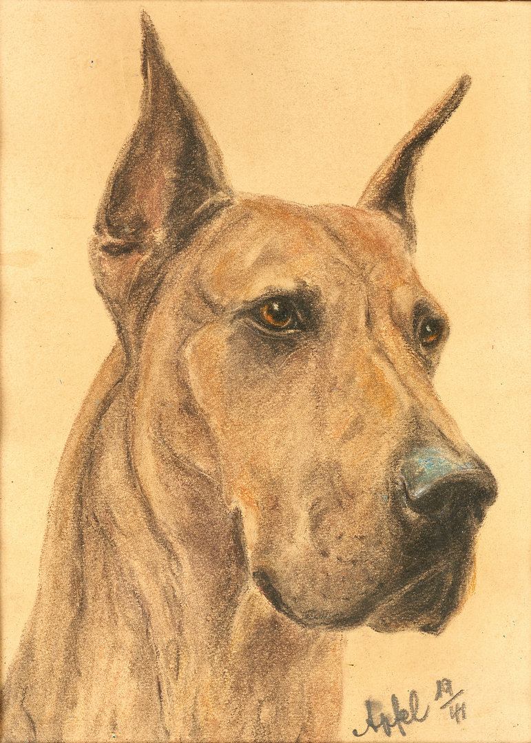 Lot 830: 2 Animal Portraits incl. Louis Braun Oil of Horse and Charcoal of Dog