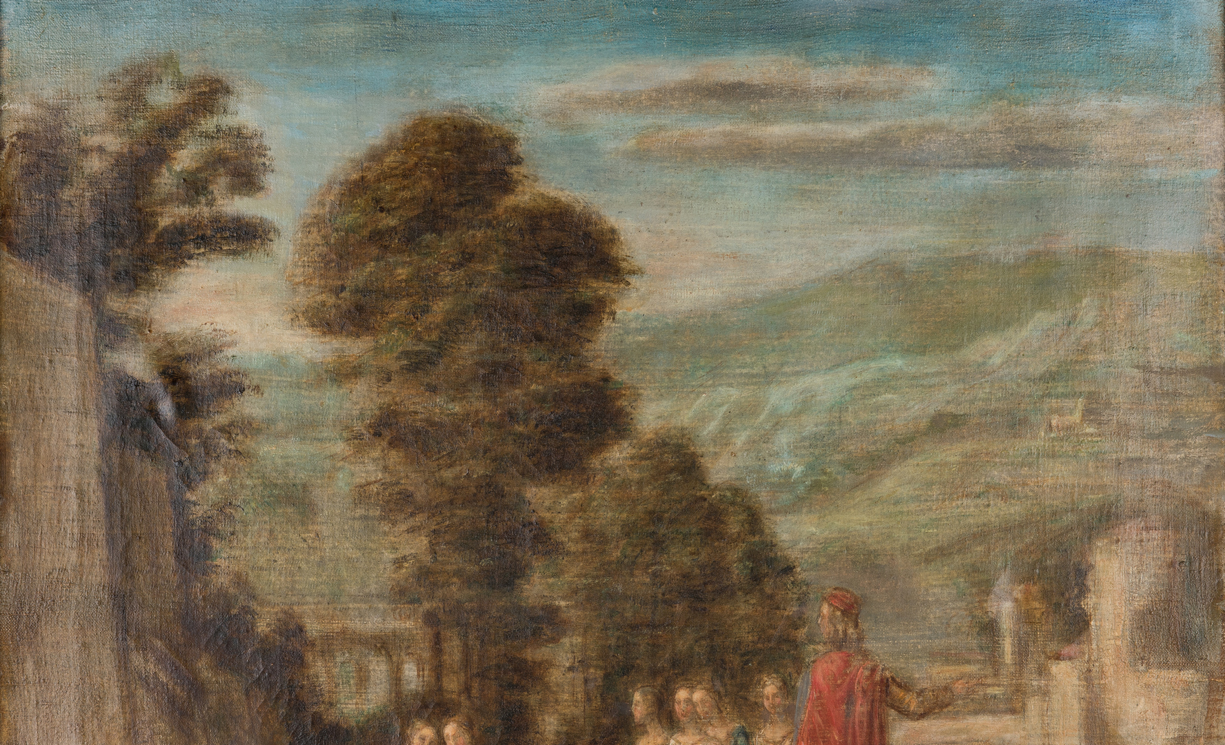 Lot 831: Willibald Besta O/C, Landscape with Man on Horse