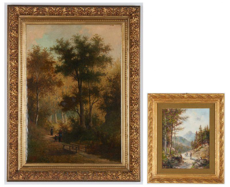 Lot 832: 2 European School Signed Oil Landscape Paintings