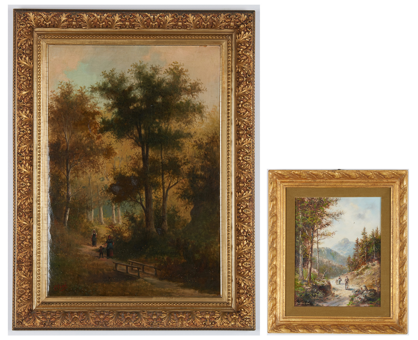 Lot 832: 2 European School Signed Oil Landscape Paintings