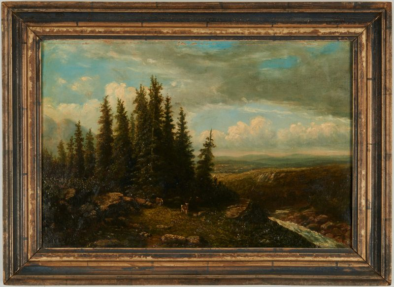 Lot 834: British School O/C Landscape Painting, Deer and Pine Trees