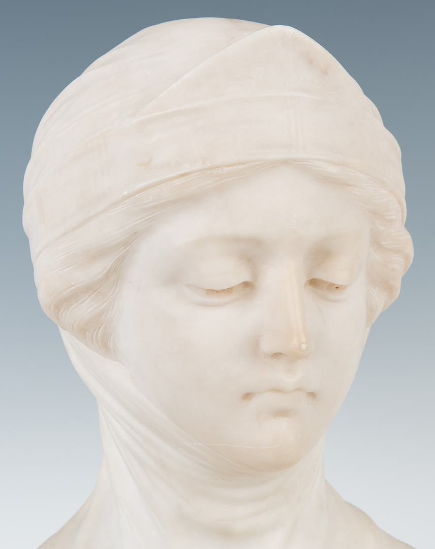 Lot 835: Marble Bust of a Maiden with Veil