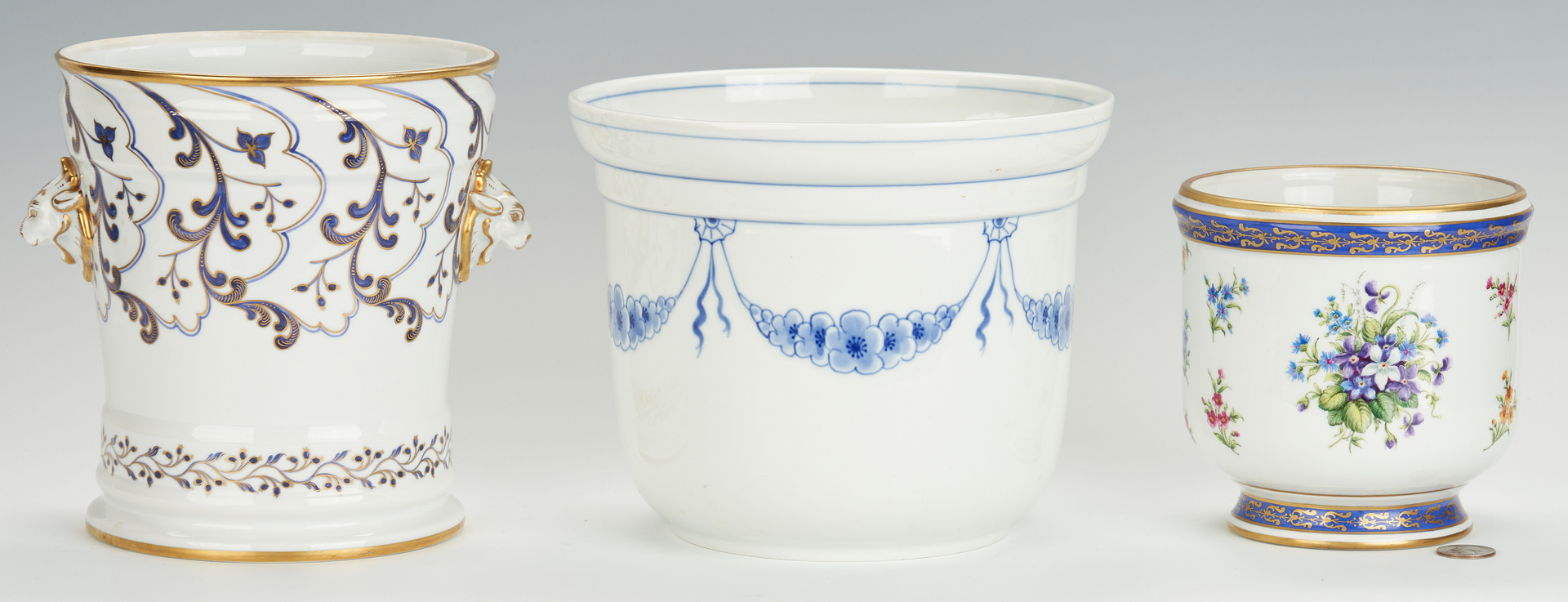 Lot 836: 3 Ceramic Cachepots, Tiffany and Royal Copenhagen