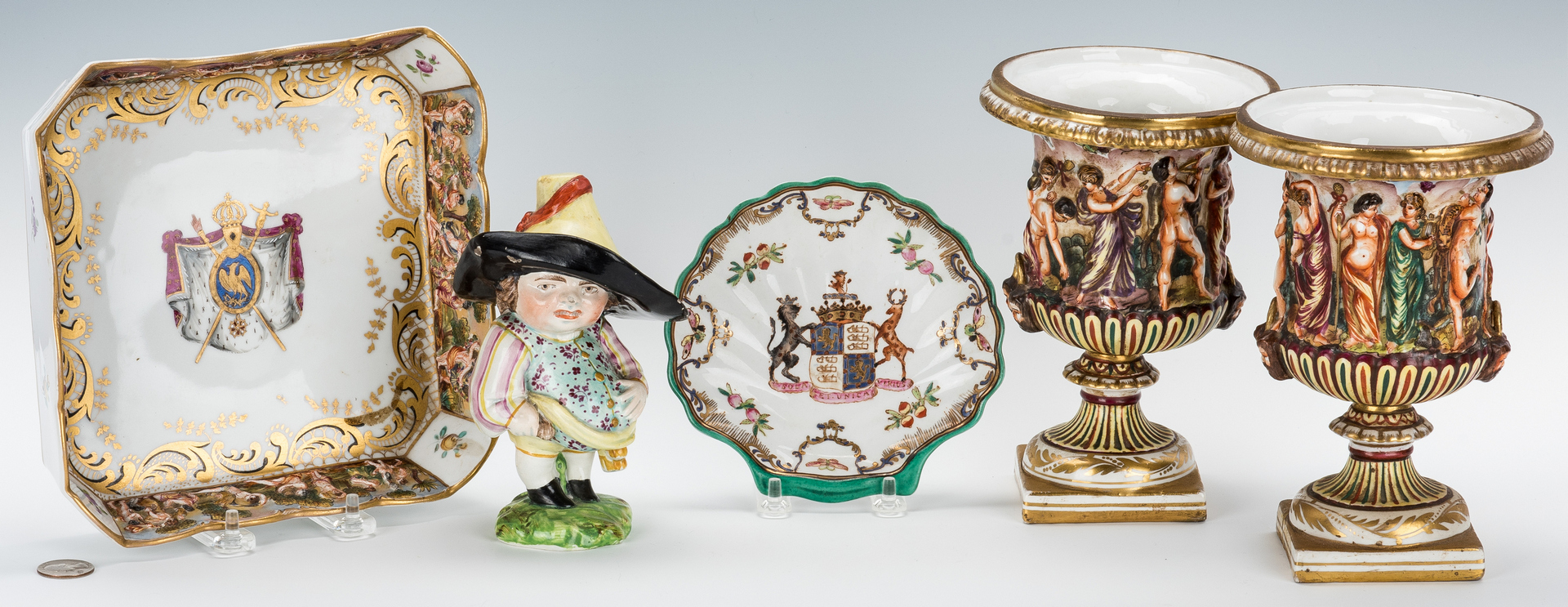 Lot 839: 5 European Porcelain Items inc. Armorial