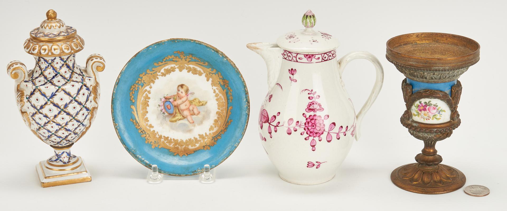 Lot 841: 7 Pcs. Porcelain incl. Figures, Urn, Jug, and Plateau