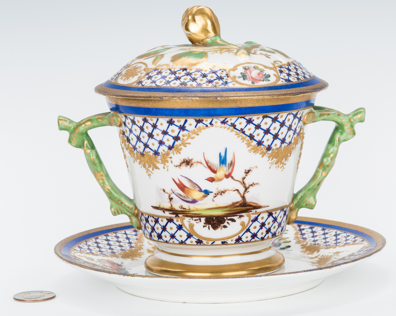 Lot 842: Sevres Style Porcelain Ecuelle w/ Underplate & Cover
