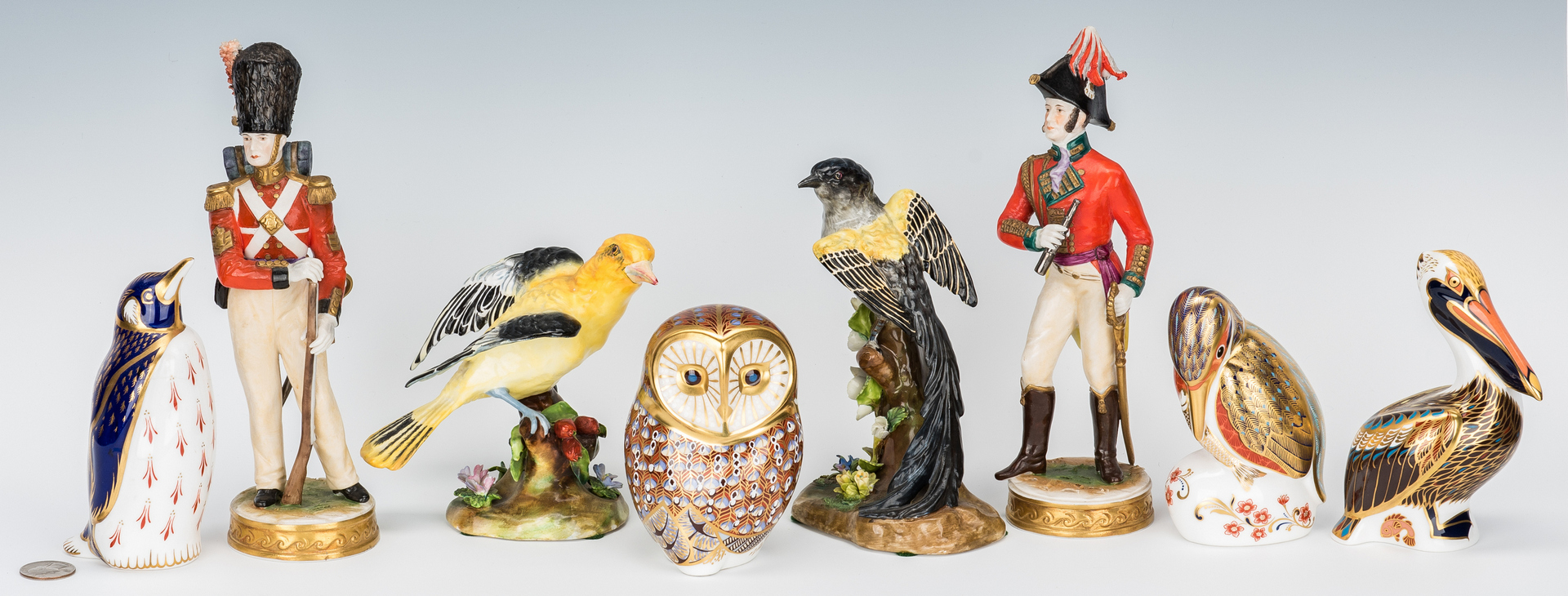 Lot 844: 8 Assorted European Porcelain Figural Items, Crown Derby & Staffordshire