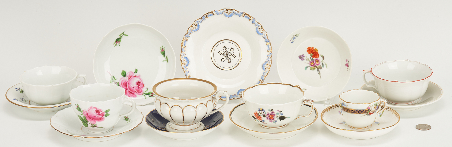 Lot 847: 15 Cups and Saucers, incl. Meissen, KPM