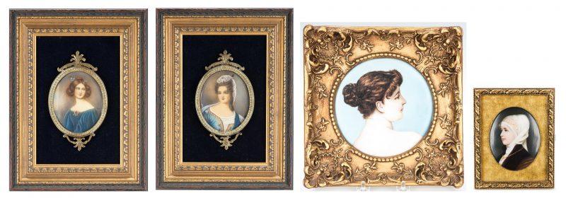 Lot 852: 4 Framed Porcelain Portrait Plaques, Female Subjects