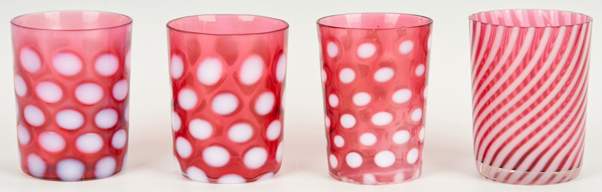 Lot 854: 7 Cranberry Glass Items, incl. Mary Gregory