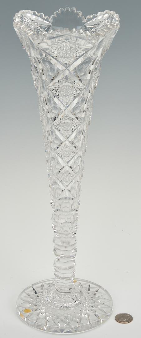 Lot 857: Tall Cut Glass Trumpet Vase att. Hawkes