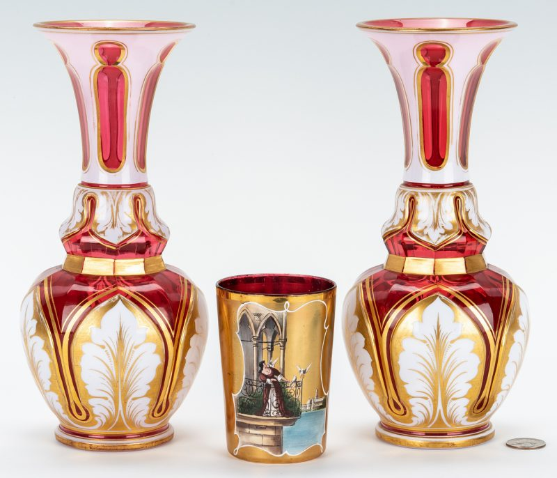 Lot 861: 3 Bohemian Glass Items, Vases & Tumbler