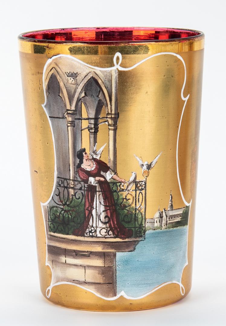Lot 861: 3 Bohemian Glass Items, Vases & Tumbler