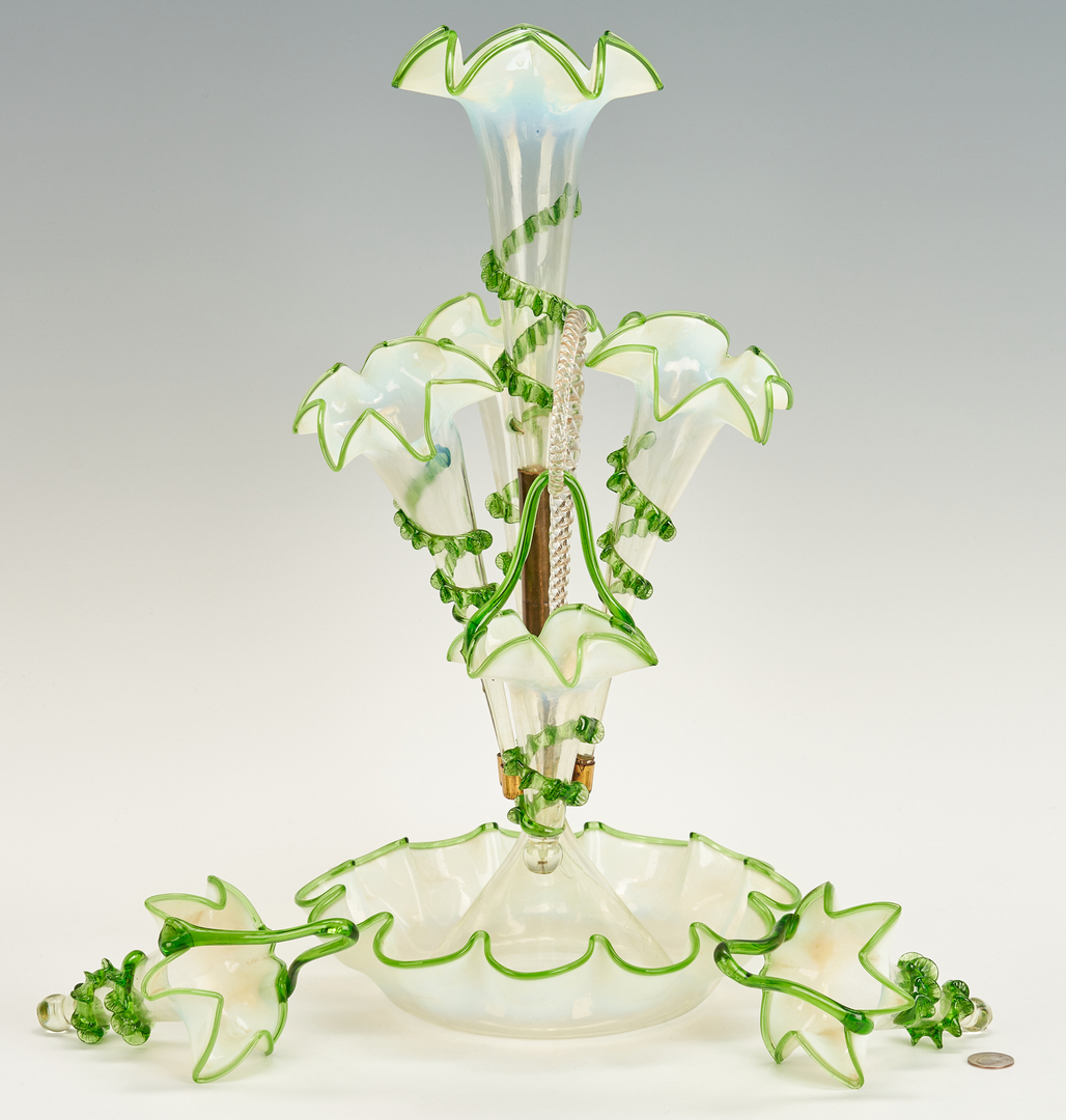 Lot 863: Victorian Green & Opalescent Glass Epergne w/ Baskets