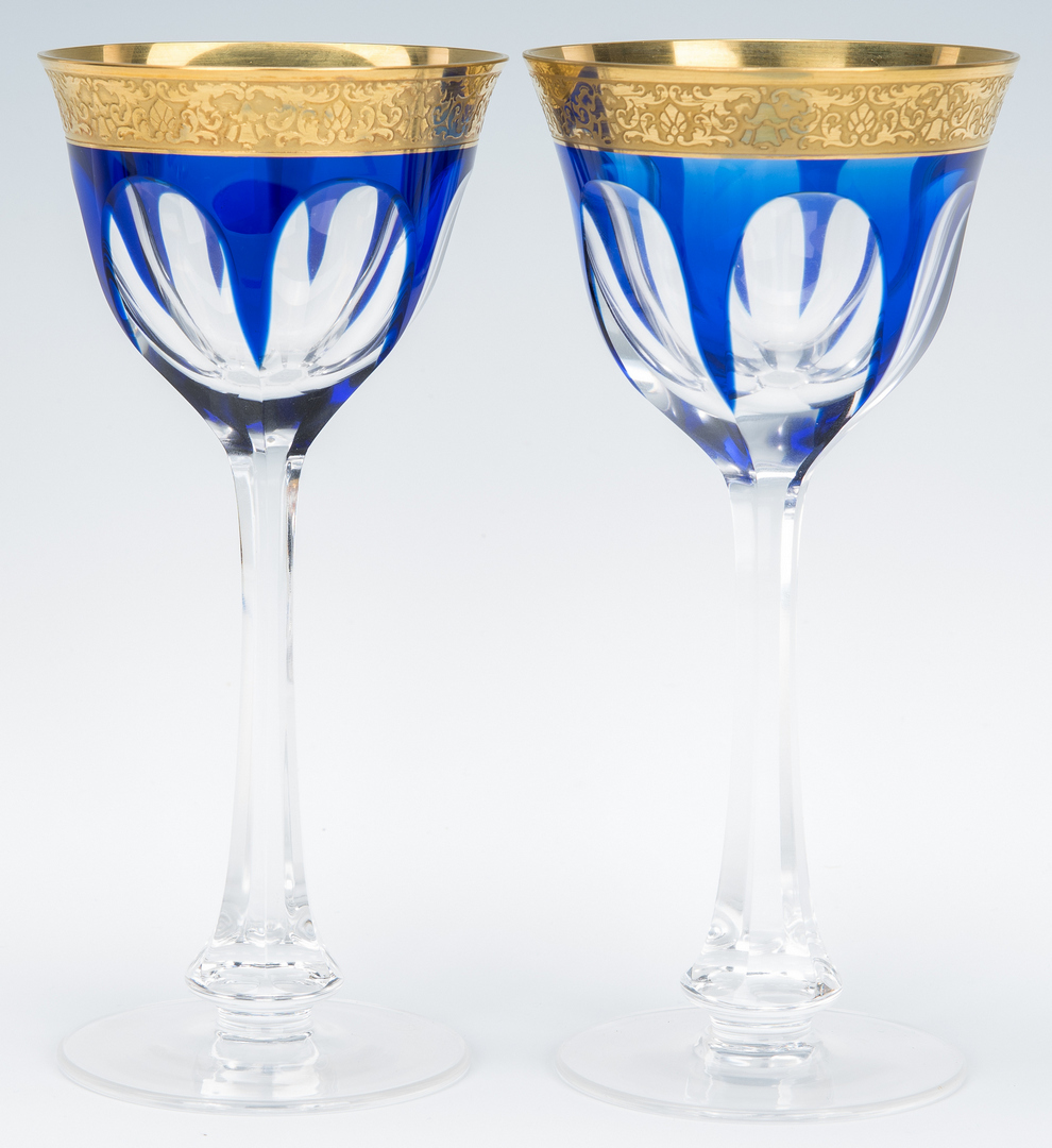 Lot 864: 12 Signed Moser Colored Wine Glasses