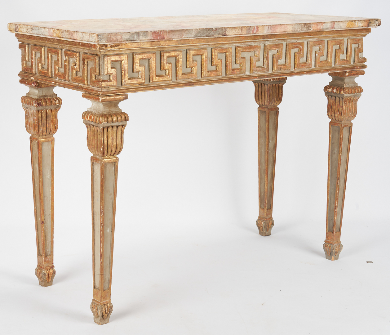 Lot 867: Italian Style Console Table w/ Faux Marble Top