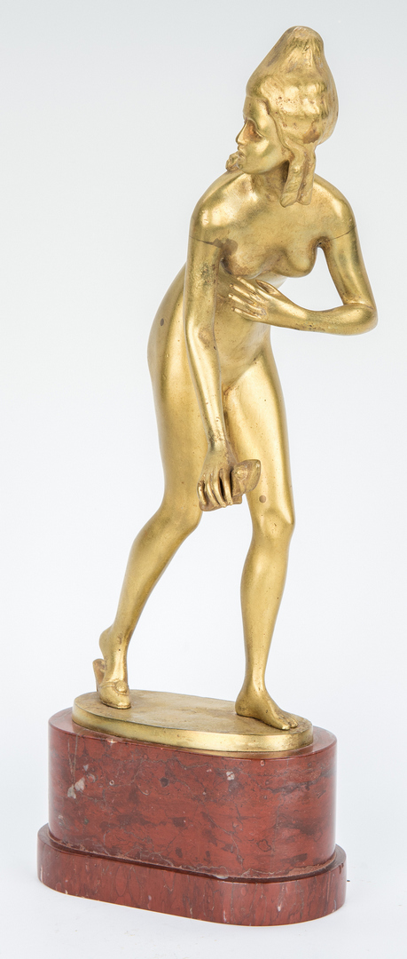 Lot 869: Gilt Bronze Sculpture, Nude w/ Slipper