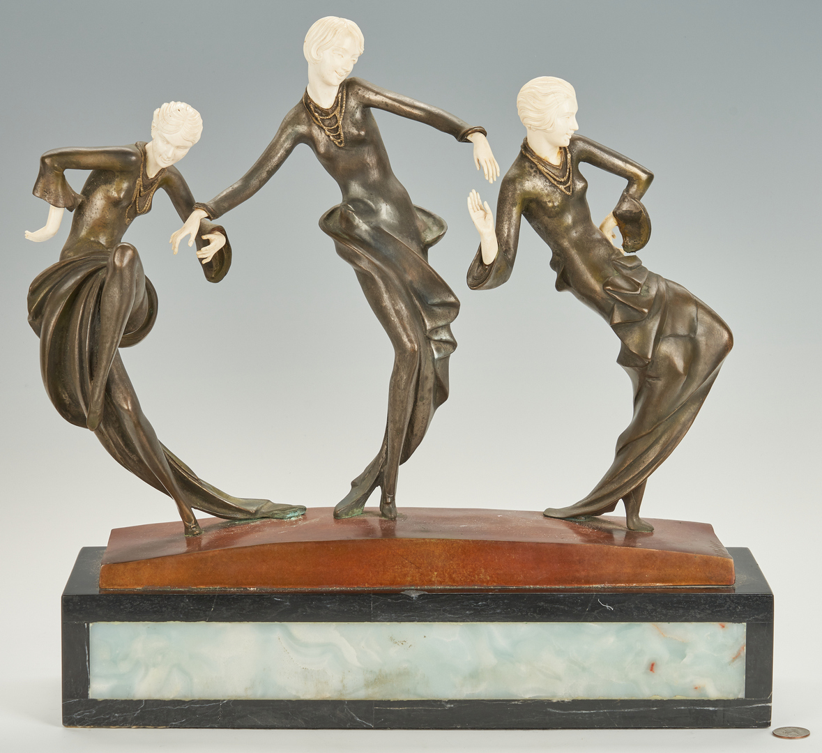 Lot 871: Philippe Art Deco Bronze Sculpture, 3 Dancers