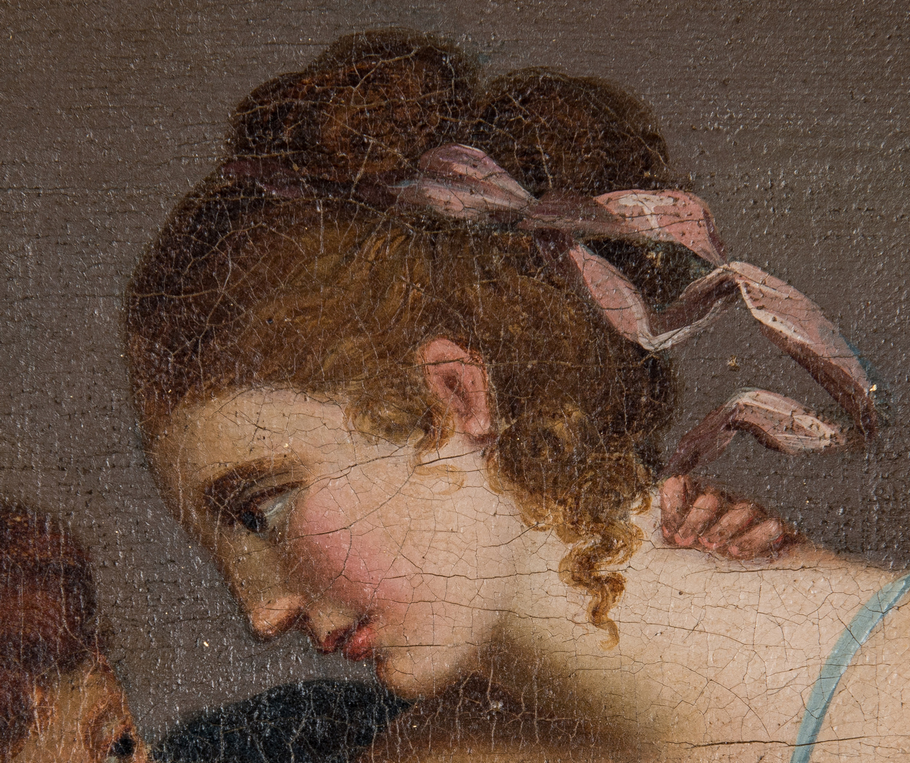 Lot 872: European School Oil Painting, Classical Female w/ Cherub