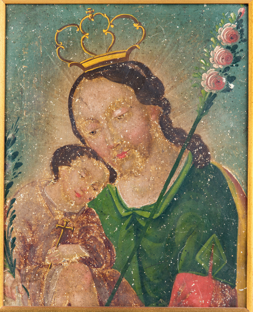 Lot 873: Ex-Voto Mexican Retablo, Christ w/ Child