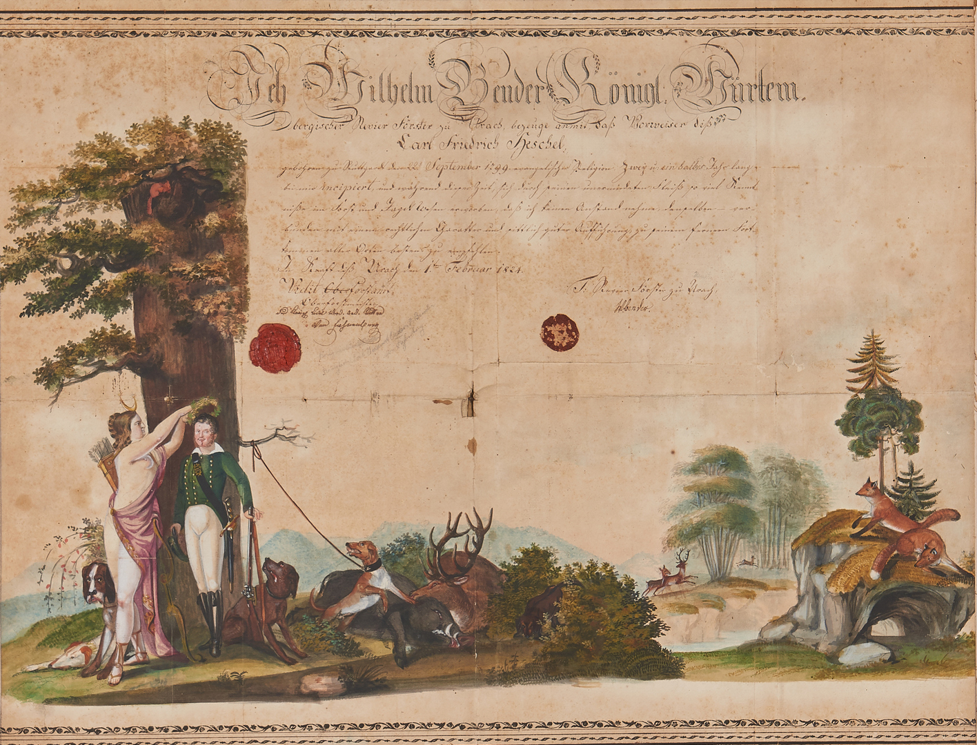 Lot 875: Illustrated 19th Cent. German Forestry Certificate