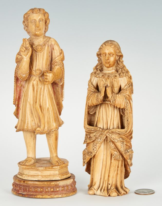 Lot 876: Pair of 18th Cent. Carved Ivory Figurines