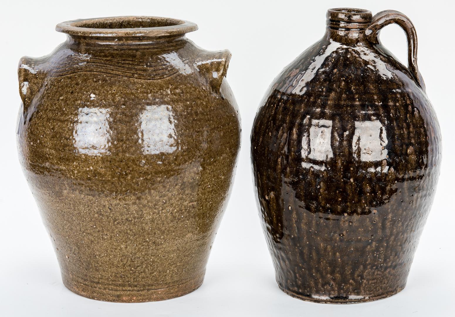 Lot 879: 2 Western NC Stoneware Pottery Pcs.