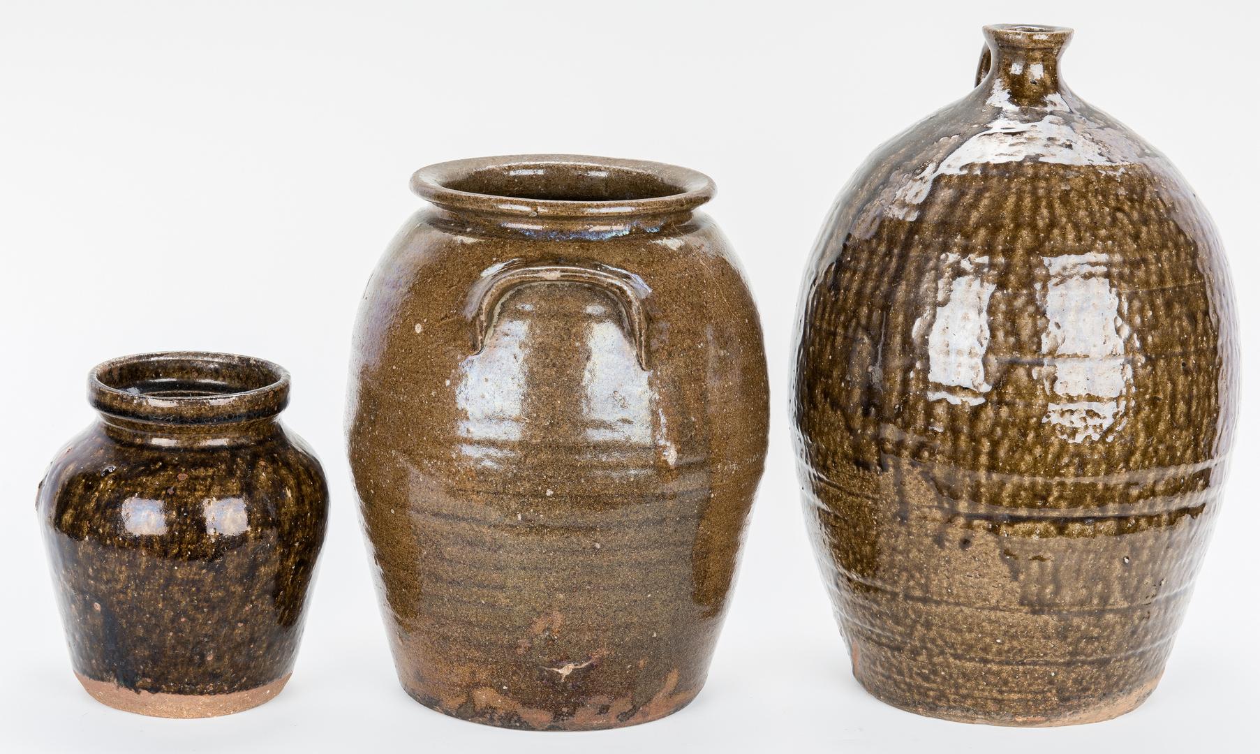 Lot 880: 3 Western NC Stoneware Pottery Items