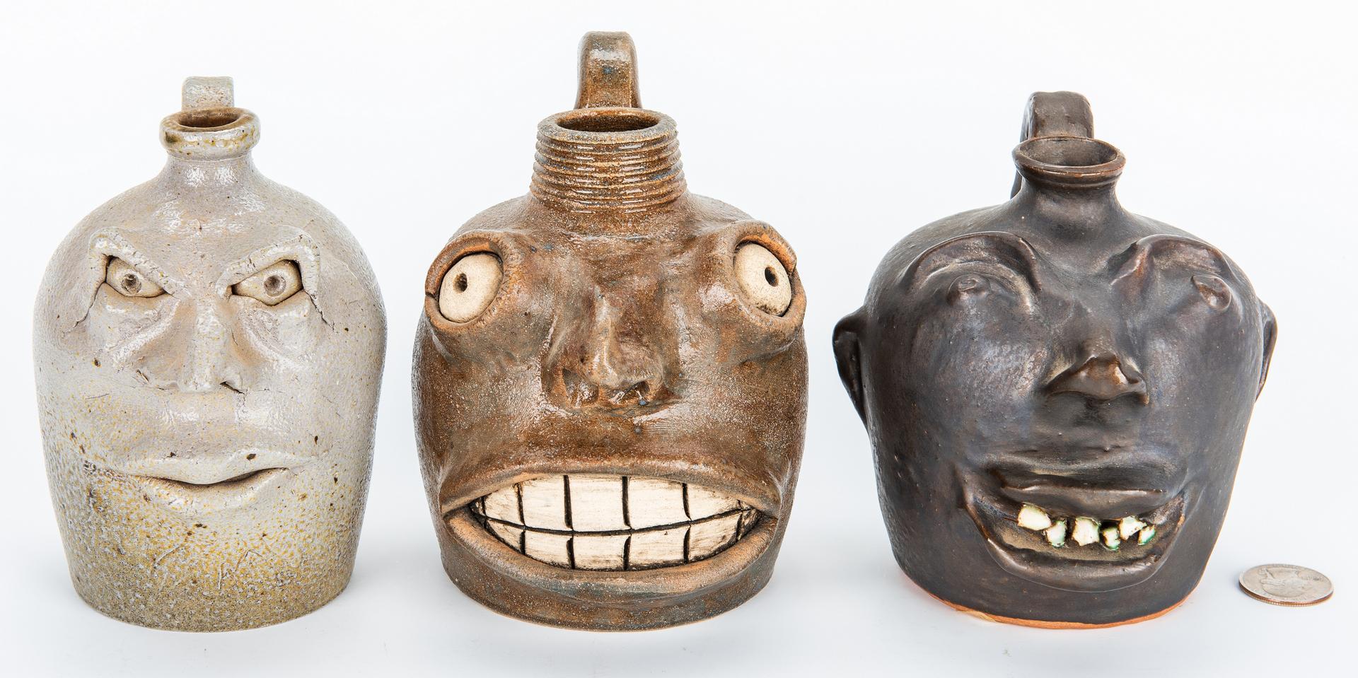 Lot 881: 3 Southern Folk Pottery Face Jugs