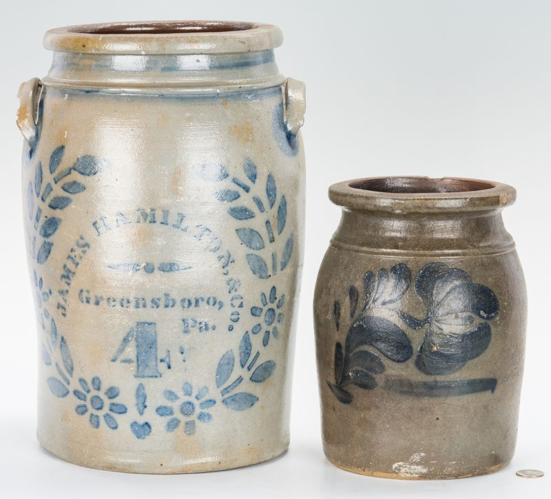 Lot 882: 2 Cobalt Preserving Jars, Incl. Hamilton