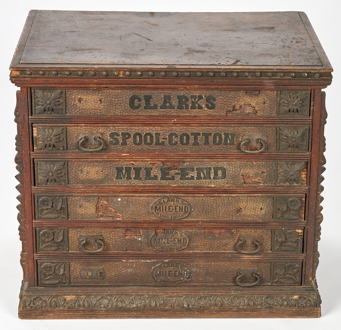 Lot 892: 2 Mercantile Spool Cabinets, incl. Clark's Advertising