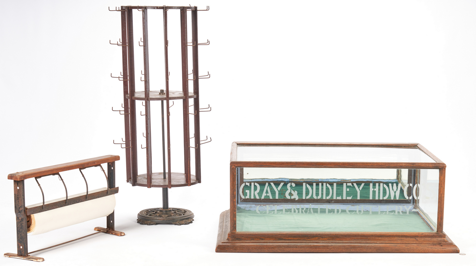 Lot 893: 3 Mercantile items incl. Gray & Dudley Cutlery Showcase