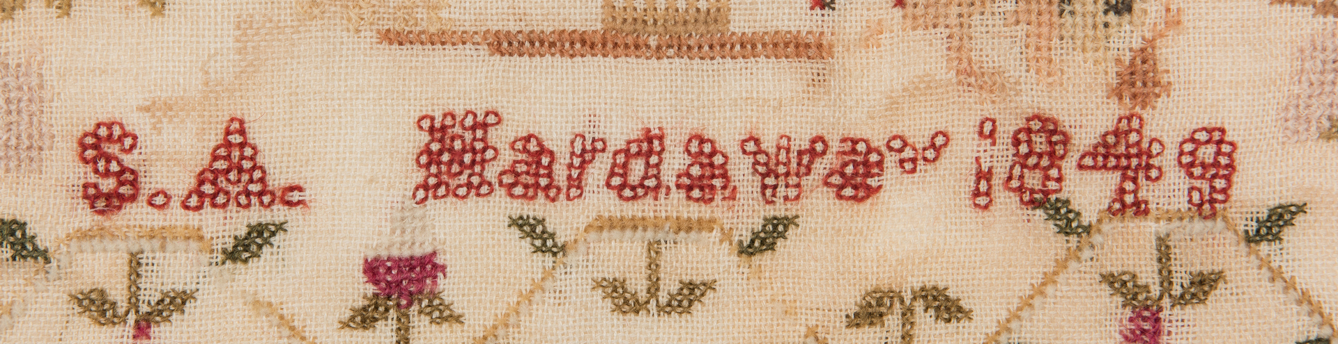 Lot 896: 2 19th Cent. Textiles, incl. Sampler, Silk Embroidery