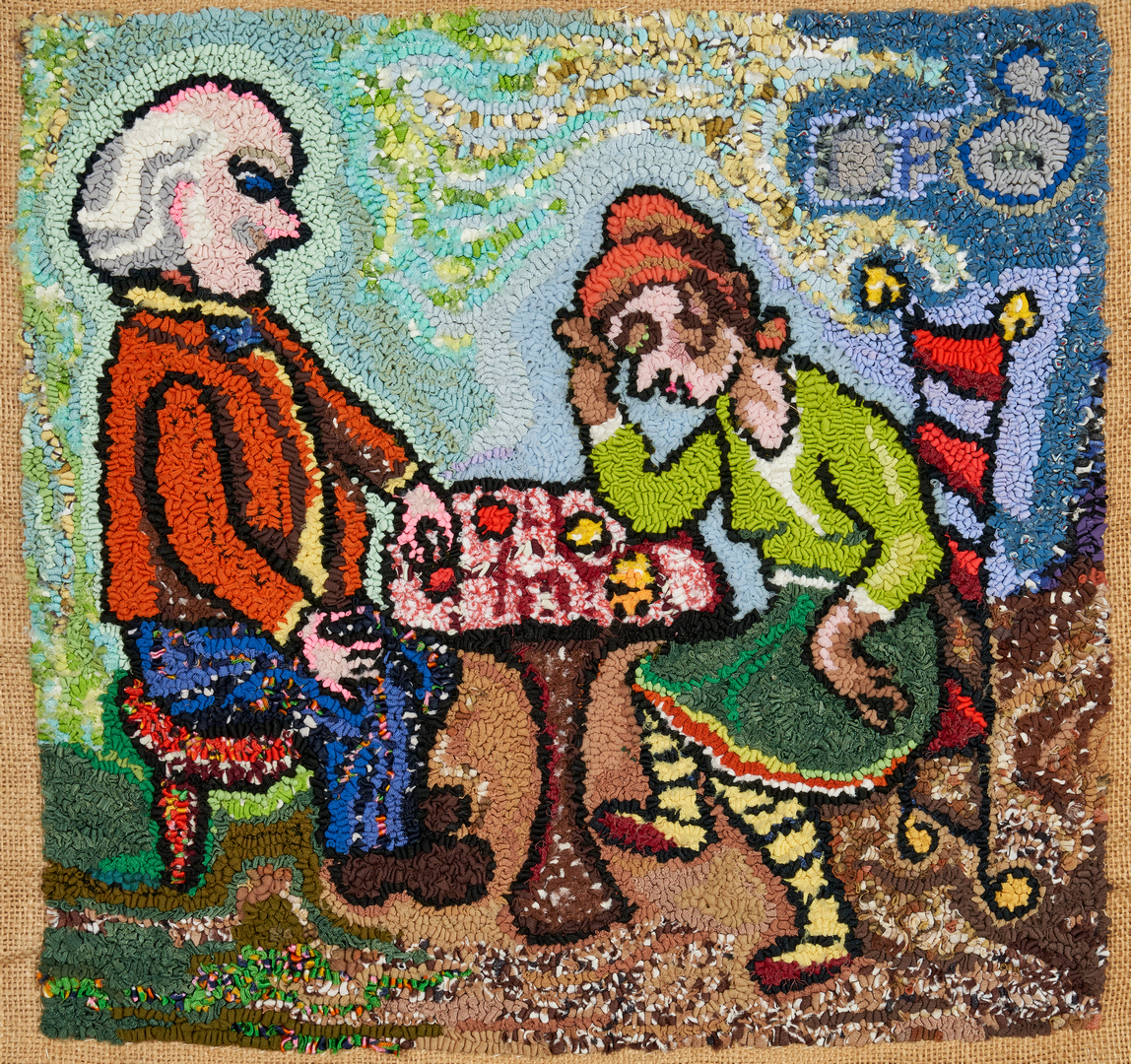 """Lot 898: Dorothy Strauser Weaving,""""Checkers"""""""