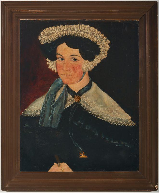 Lot 908: American School Portrait, Woman with Hat