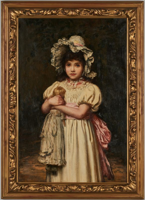 Lot 90: Katharine Bywater O/C Painting, Girl with Doll