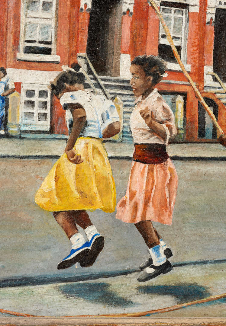 Lot 910: American School, 20th C., Girls Jumping Rope