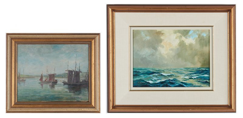 Lot 911: 2 20th Cent. Maritime Paintings, incl. H.H. Ahl, J. Zarand