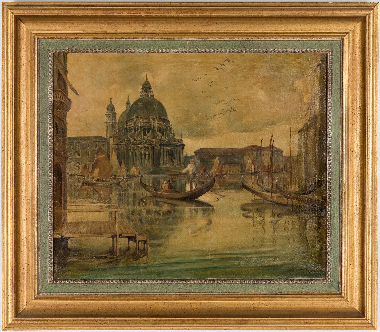 Lot 914: European School O/C Venetian Canal Scene