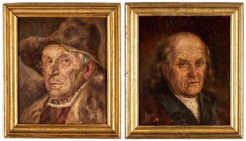 Lot 916: Pair Small German Portraits, Men's Head Studies, Josef Schwickart